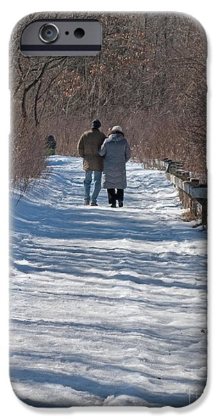 Women Together iPhone Cases - Winter Stroll iPhone Case by Ann Horn