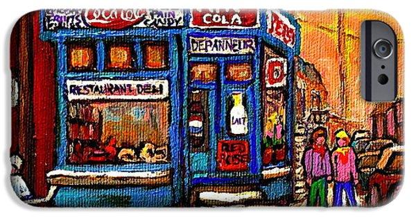 Hockey Paintings iPhone Cases - Winter Stroll Beautiful Sunny Day Montreal Street Scene  - Verdun Depanneur Hockey City Scene  iPhone Case by Carole Spandau
