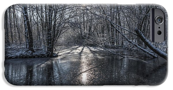 Snowy Stream iPhone Cases - Winter Sun Rays iPhone Case by Svetlana Sewell