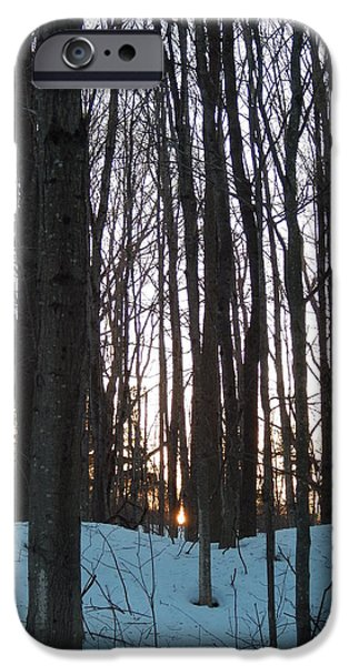 Winter In Maine iPhone Cases - Winter sun sets in the Maine woods iPhone Case by Expressionistar Priscilla-Batzell