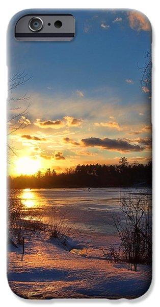 New England Snow Scene iPhone Cases - Winter Sundown iPhone Case by Joann Vitali