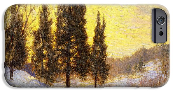Snowy Day Paintings iPhone Cases - Winter Sundown iPhone Case by Walter Launt Palmer