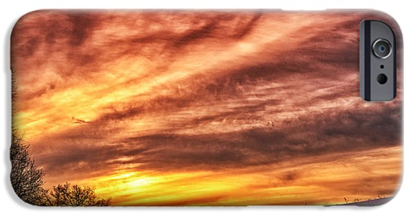 Colorful Cloud Formations iPhone Cases - Winter Sunrise Drama iPhone Case by Thomas R Fletcher