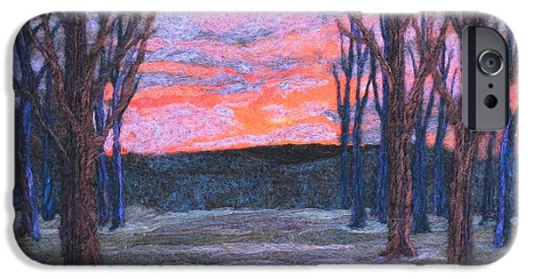 Winter Scene Tapestries - Textiles iPhone Cases - Winter Sunrise iPhone Case by Michelle Bowers