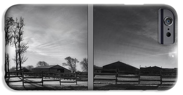 Wintertime iPhone Cases - Winter Sunrise On The Farm 2 Panel BW iPhone Case by Thomas Woolworth