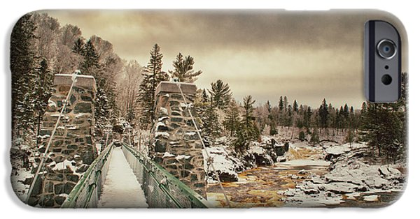 Jay iPhone Cases - Winter Sunrise Over A Swinging Bridge iPhone Case by Shutter Happens Photography