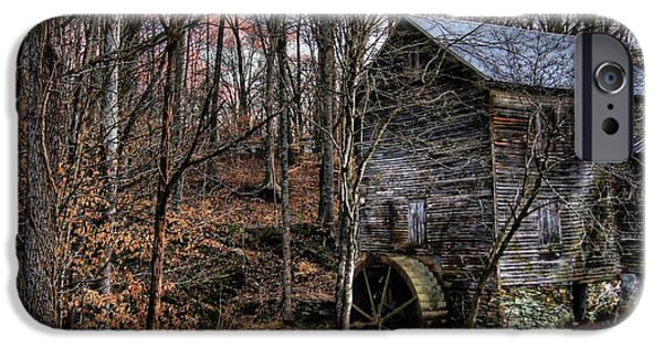 Grist Mill iPhone Cases - Winter Sunset at Cooks Mill iPhone Case by Benanne Stiens