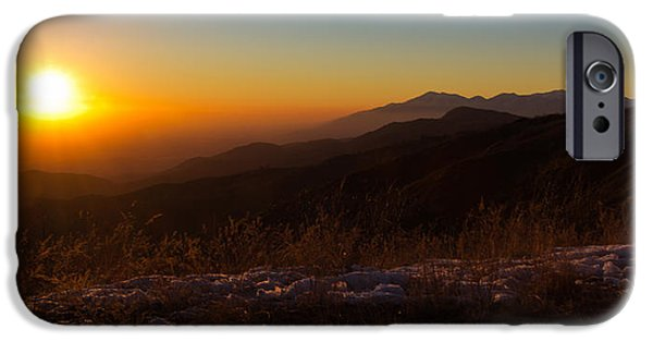 Park Scene iPhone Cases - Winter Sunset iPhone Case by Heidi Smith
