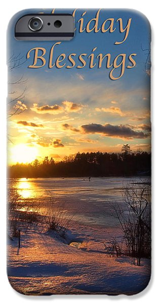 New England Snow Scene iPhone Cases - Winter Sunset Holiday Card iPhone Case by Joann Vitali