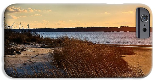 Ocean Sunset Pyrography iPhone Cases - Winter Sunset on the Cape Fear River iPhone Case by Willard Killough III