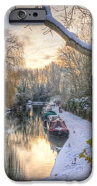 Wintertime iPhone Cases - Winter Sunset on the River iPhone Case by Gill Billington