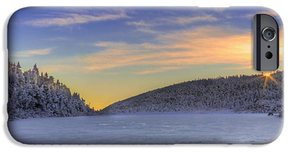 New England Snow Scene iPhone Cases - Winter Sunset over Eagle Lakes iPhone Case by Christopher Whiton