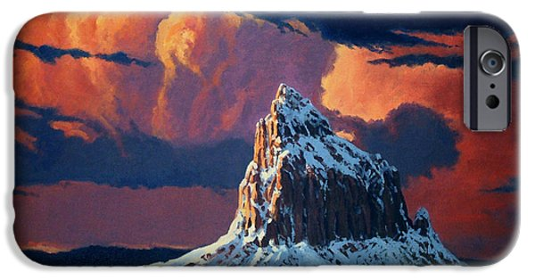 Randy iPhone Cases - Winter Sunset Over Shiprock iPhone Case by Randy Follis