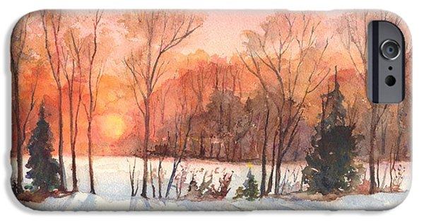 Winter Scene iPhone Cases - A Winter Sunset Serenade iPhone Case by Carol Wisniewski