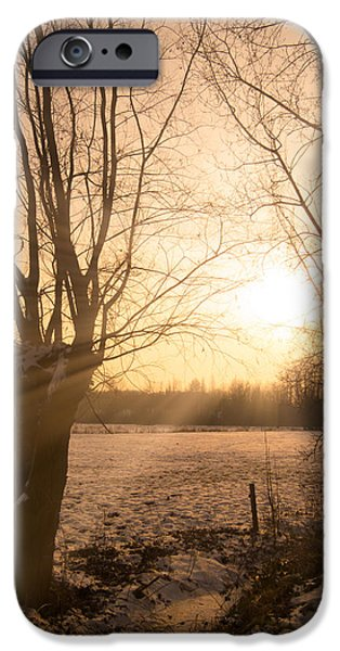 Winter Sunset iPhone Case by Wim Lanclus