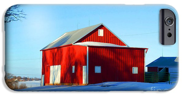 Wintertime iPhone Cases - Winter Time Barn In Snow iPhone Case by Luther   Fine Art