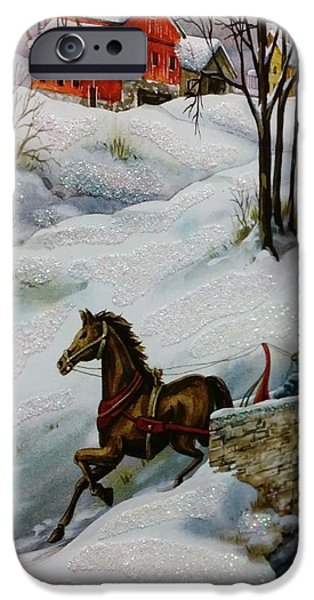 Horse And Buggy Drawings iPhone Cases - Winter Time With T And R iPhone Case by Rob Hans