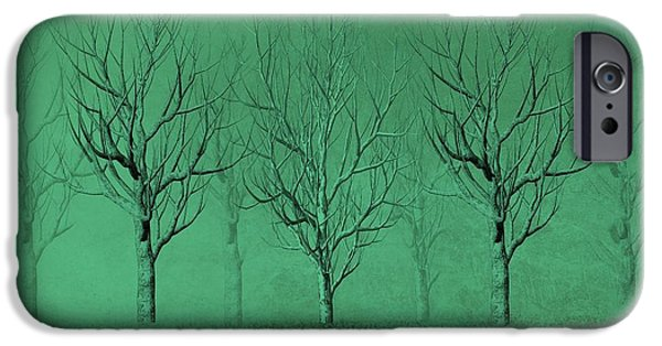 Business Drawings iPhone Cases - Winter Trees in the Mist iPhone Case by David Dehner