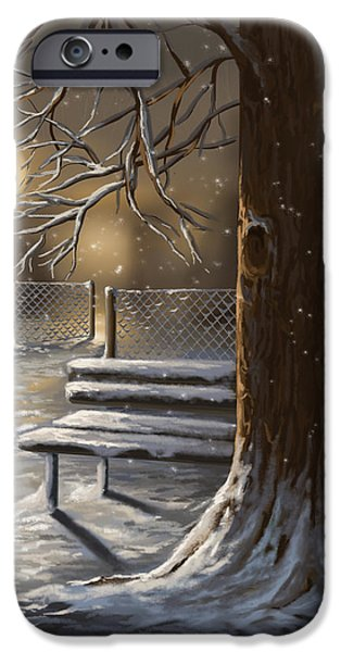 Snowy Night iPhone Cases - Winter trilogy 1 iPhone Case by Veronica Minozzi
