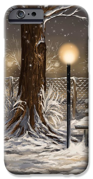 Snowy Evening iPhone Cases - Winter trilogy 2 iPhone Case by Veronica Minozzi