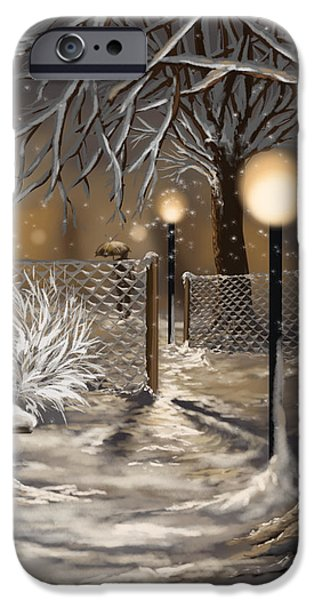 Snowy Night iPhone Cases - Winter trilogy 3 iPhone Case by Veronica Minozzi