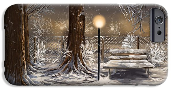 Park Scene Paintings iPhone Cases - Winter trilogy collage iPhone Case by Veronica Minozzi