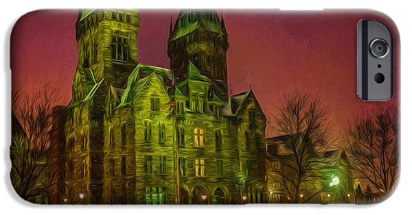 Psychiatric iPhone Cases - Winter Twilight at Buffalo Psych Center N1 iPhone Case by Chris Bordeleau