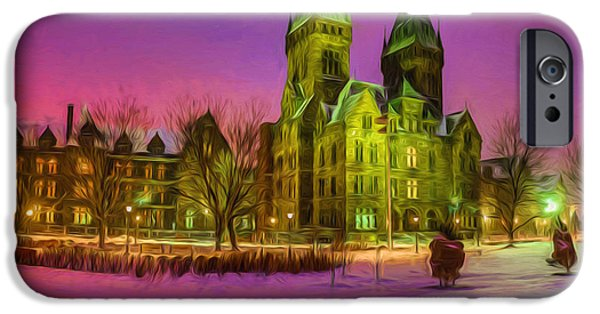 Psychiatric iPhone Cases - Winter Twilight at Buffalo Psych Center N2 iPhone Case by Chris Bordeleau