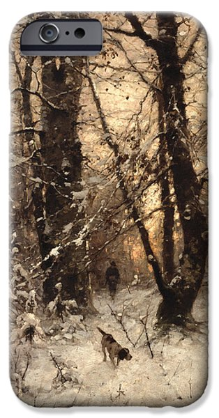 Figure iPhone Cases - Winter Twilight iPhone Case by Ludwig Munthe