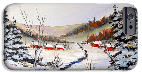 Village iPhone Cases - Winter Village on the Creek iPhone Case by Dorothy Maier
