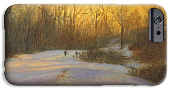 Dog In Landscape iPhone Cases - Winter Walk at Sunset iPhone Case by Phyllis Tarlow