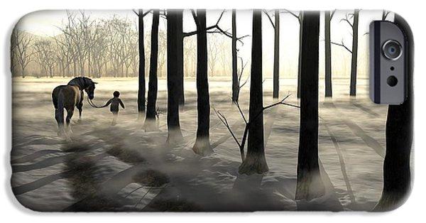 Winter Digital Art iPhone Cases - Winter Walk iPhone Case by Cynthia Decker