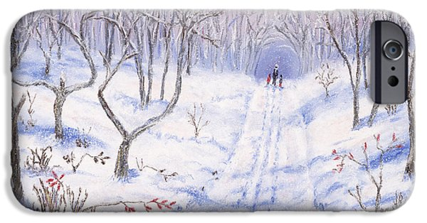 Snowy Pastels iPhone Cases - Winter Walk iPhone Case by George Burr