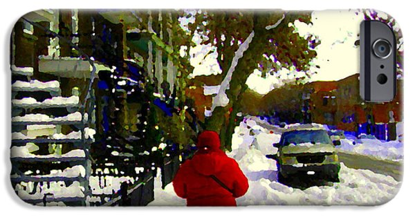 Snowy Day iPhone Cases - Winter Walk Streets Of Verdun Urban City Scene December Montreal Staircase Art Carole Spandau iPhone Case by Carole Spandau
