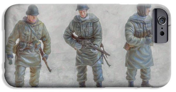 Army Men iPhone Cases - Winter War Panzer Grenadiers iPhone Case by Randy Steele