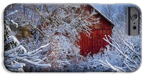 Barns Photographs iPhone Cases - Winter Warmth  iPhone Case by Jeff Klingler
