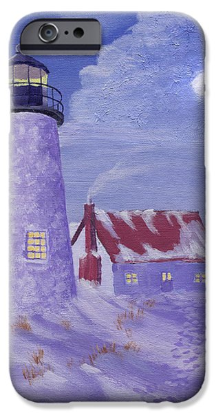 Maine Landscapes Paintings iPhone Cases - Winter Watch iPhone Case by Jerry McElroy