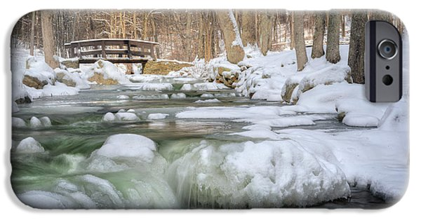 Snowy Brook iPhone Cases - Winter Water iPhone Case by Bill Wakeley