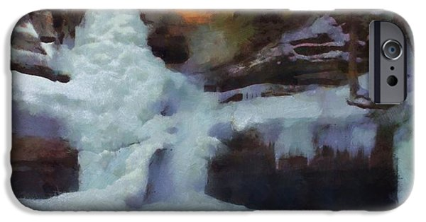 Water In Caves iPhone Cases - Winter Waterfalls iPhone Case by Dan Sproul