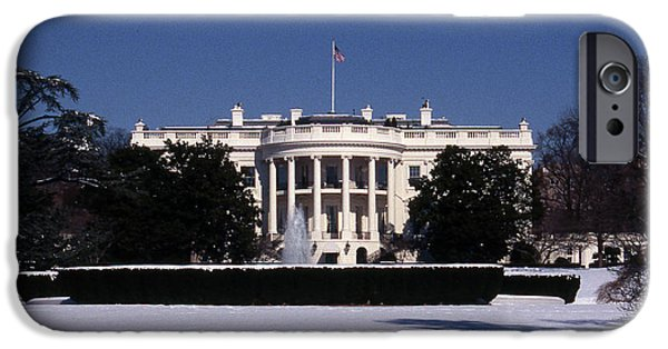 National Treasure iPhone Cases - Winter White House  iPhone Case by Skip Willits