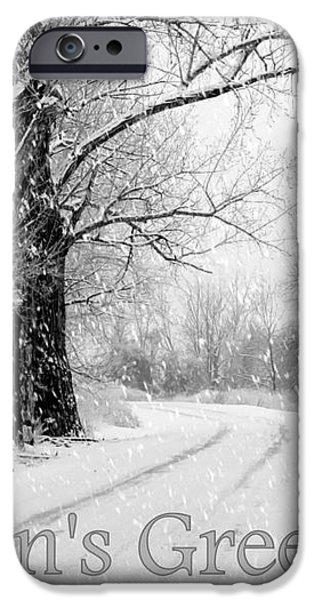 Winter White Season's Greeting Card iPhone Case by Carol Groenen