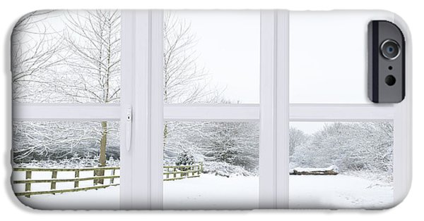 Snow Scene iPhone Cases - Winter Window iPhone Case by Amanda And Christopher Elwell