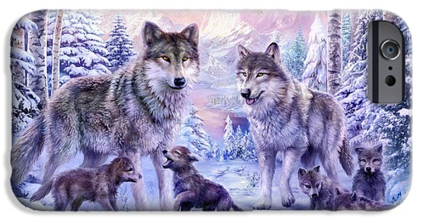 Cute Illustration iPhone Cases - Winter Wolf Family  iPhone Case by Jan Patrik Krasny