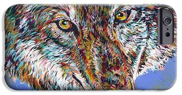 Huskies iPhone Cases - Winter Wolf iPhone Case by Lovejoy Creations