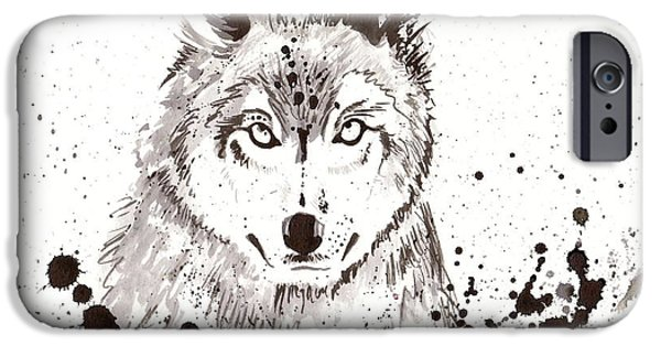 Loup iPhone Cases - Winter Wolf iPhone Case by Tiberiu Soos