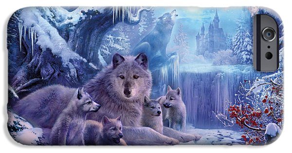 Forest iPhone Cases - Winter Wolves iPhone Case by Jan Patrik Krasny