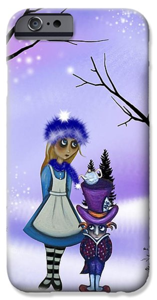 Alice In Wonderland Digital iPhone Cases - Winter Wonderland iPhone Case by Charlene Murray Zatloukal