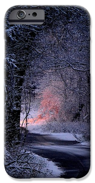 Snowy Night iPhone Cases - Winter Wonderland iPhone Case by Deena Stoddard