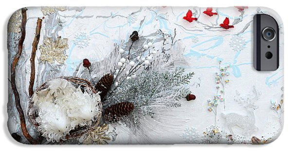 Pines Mixed Media iPhone Cases - Winter Wonderland iPhone Case by Donna Blackhall