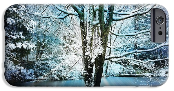 Snowy Day Digital Art iPhone Cases - Winter Wonderland iPhone Case by Judy Palkimas